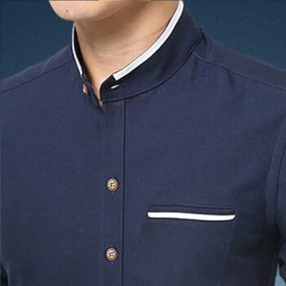卡帝乐鳄鱼(CARTELO)衬衫 男士潮流时尚休闲百搭立领长袖衬衣A180-2210深蓝色4XL