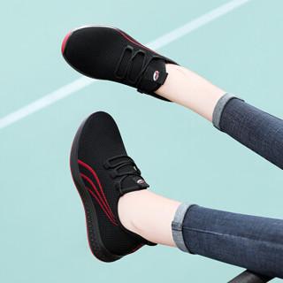 古奇天伦 女士韩版时尚百搭平底低帮运动跑步休闲鞋 9185 黑色 36