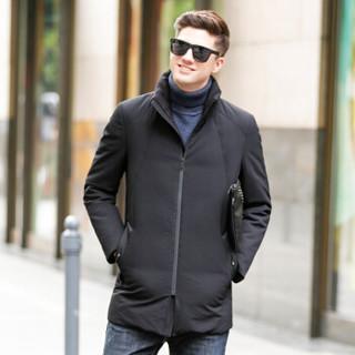 恒源祥羽绒服男青年白鸭绒立领保暖防寒服加厚款外套 黑色 M(170/88A)