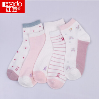 红豆儿童袜子女中筒小中大童春夏舒适网眼袜40支精梳棉A类标准5双装青少年童袜H9W708组合二13-14