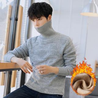 富贵鸟(FUGUINIAO)加绒针织衫男2018冬季新款男士保暖打底针织衫男 灰色 M