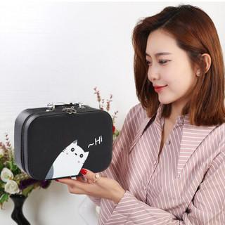 香柚小镇化妆包便携韩国简约可爱大容量多功能化妆品包收纳盒箱手提 黑色小猫