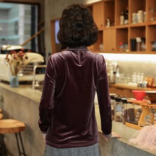 欧偲麦 加绒打底衫女冬款保暖上衣女士长袖金丝绒时尚百搭2019春季新款 ZY-88500-0  粉色 3XL