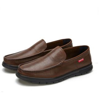 CAMEL 骆驼 男鞋牛皮休闲时尚软底套脚舒适 W912155030 棕色 40/250码