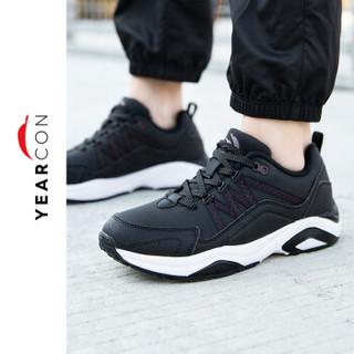 YEARCON 意尔康 户外休闲时尚潮流舒适运动女鞋E64801402 玛瑙黑/暗队红 35