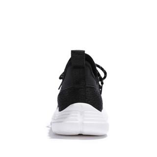 Semir 森马 时尚潮流轻便百搭韩版飞织运动跑步系带休闲鞋男 219113105 黑色 38码
