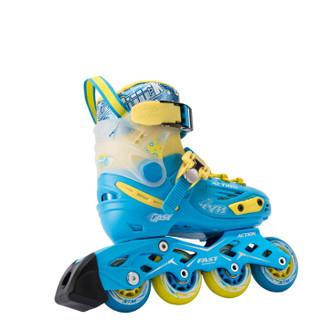 动感(ACTION)溜冰鞋儿童全套装轮滑鞋 平花鞋成人男女可调滑轮鞋 流星蓝+头盔+护具+单肩包 L/37-40码