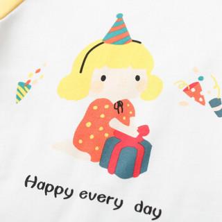 cicie自营童装女童T恤撞色印花套头衫女孩儿童上衣C91058 黄色 150/72