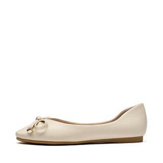 Josiny 卓诗尼 女低跟方头浅口时装休闲轻便蝴蝶结水钻芭蕾舞平底单鞋J121D910J931 米白色 38