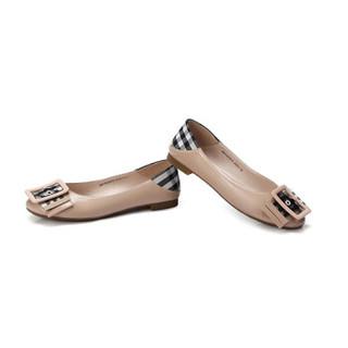 骆驼 A91025670 女士 摩登大气方扣格子布混搭套脚单鞋 A91025670 裸色 35