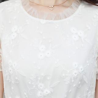 丝柏舍2019春季新款女装韩版短袖纯色圆领收腰拼接气质大摆连衣裙 S81R0896LA7L 白色 L