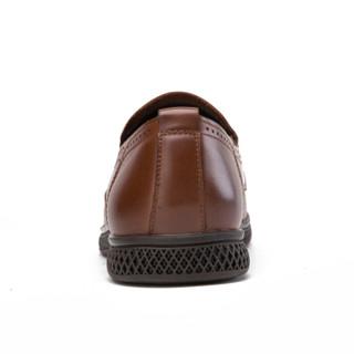 CAMEL 骆驼 男鞋商务正装小牛皮舒适套脚 W912043410 烟草 38/240码