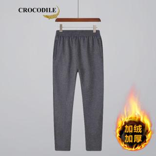 鳄鱼恤(CROCODILE)男休闲长裤 时尚新款运动跑步卫裤宽松直筒裤 98851882 深灰(加绒) 3XL