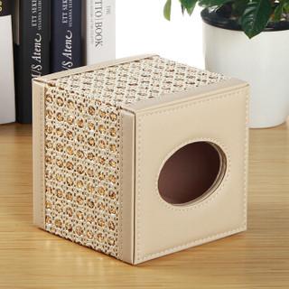 雅皮仕 皮革家用卷纸筒纸巾筒 创意客厅茶几纸巾盒抽纸盒 钻石纹 金色