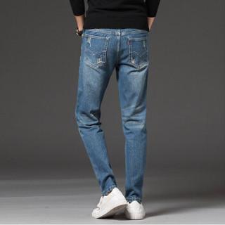 凯撒(KAISER)牛仔裤 男2019春季新款修身小脚舒适时尚青年休闲牛仔男士长裤 Q913-N8619 深蓝色 33