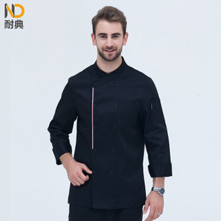 耐典 厨师服装 侧加织带时尚斜领双排扣厨师工作服男女同款工装定制 黑色 3XL