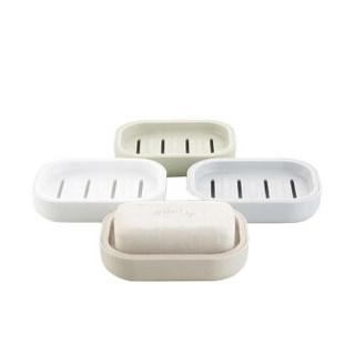 HOUYA好雅 4件 香皂盒架 肥皂盒沥水皂拖 创意简约无印良品风格台式双层皂架