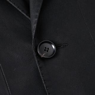 雪豹2019春秋新品山羊皮西装男士薄款海宁皮衣轻商务休闲修身外套男装89161黑色 52