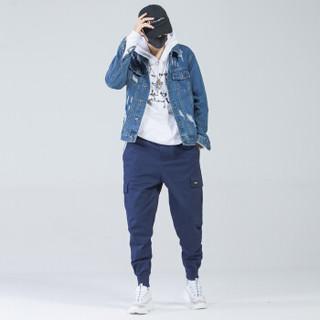 富贵鸟(FUGUINIAO)工装裤2019春季新款潮牌束脚裤嘻哈宽松hiphop小脚裤子 蓝色 L