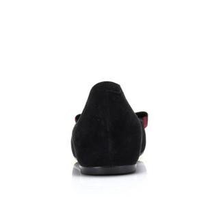 骆驼 A91071602 女士 气质淑女羊猄格子布扣饰单鞋 A91071602 黑色 38