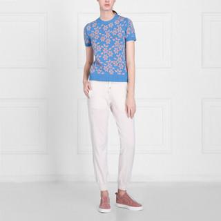 BARRIE 女士NEW DELFT 系列圆领短袖印花羊绒T 蓝色/粉色 L