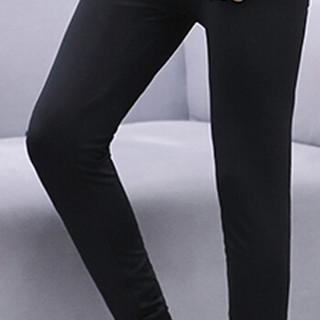 猫人(MiiOW)T恤套装 男士简约纯色无痕V领加绒保暖套装211-1-M868纯色黑色XL
