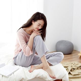顶瓜瓜睡衣女纯棉春季时尚韩版七分袖可外穿家居服套装t01120jd 粉色女款一 170