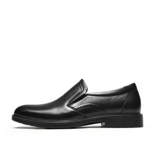 Fuguiniao 富贵鸟 商务正装头层牛皮鞋男士轻便舒适套脚 B809107 黑色 44