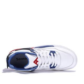 Semir 森马 时尚潮流拼色低帮平底系带休闲户外跑步篮球运动鞋男 119119604 白蓝色 43码