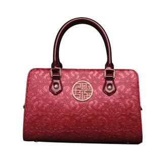 PMSIX 手提包女时尚复古女包简约大气中老年斜挎单肩妈妈包P140010  红色