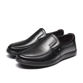 Fuguiniao 富贵鸟 男士商务休闲头层牛皮鞋舒适套脚 S994335 黑色 42