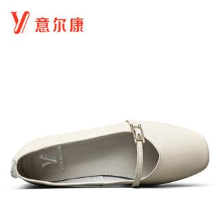 YEARCON 意尔康 女士复古玛丽珍平底平跟方头奶奶鞋 9171DA26010W 米白 36
