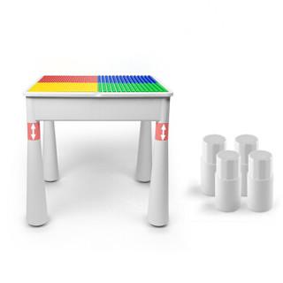 万高(Wangao)儿童玩具拼装大颗粒兼容乐高积木桌子2-3-6周岁多功能收纳男孩女孩游戏学习桌拼装130
