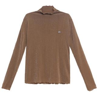 堡晟 2019春季女装新品打底衫时尚休闲高领t恤韩版宽松长袖上衣潮 HZCZ2088-Q228 黑色(加绒) XL