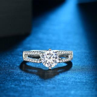 蓝色多瑙河 18K金钻石戒指四爪豪华款群镶结婚钻戒定制款 誓言 HD057N