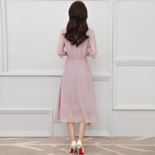 丝柏舍年春新款女装纯色圆领镂空镶钻七分袖系带袖口开叉下摆中长款连衣裙 S81R0473LA654S 藕粉色 S
