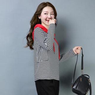 liqiao 丽乔  春季新款T恤女简约针织衫毛衣套头长袖时尚优雅街头甜美潮流个性 yzXXG526 红蓝条纹 L