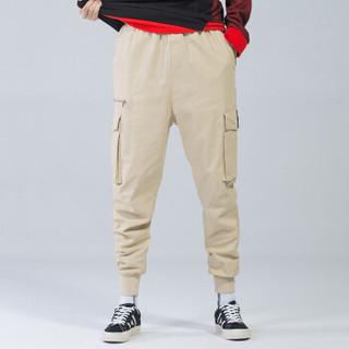 富贵鸟(FUGUINIAO)工装裤男嘻哈裤宽松束脚裤男韩版潮流个性街头小脚裤子 卡其 3XL