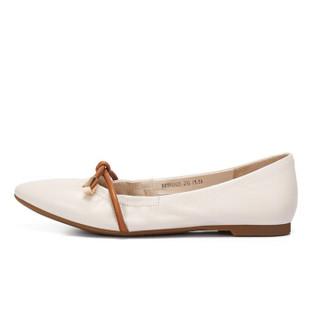 骆驼 A91893635 女士 气质淑女尖头套脚平跟单鞋 A91893635 米白/土黄 37
