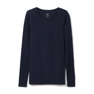 Gap 盖璞 纯色基本款长袖T恤女柔软莫代尔打底衫上衣 241908 纯靛蓝色 170/96A(M)