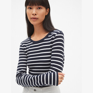 Gap旗舰店女装长袖T恤打底衫 圆领条纹柔软莫代尔女士内搭上衣 352725 海军蓝条纹 155/76A(XXXS)