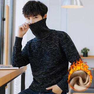富贵鸟(FUGUINIAO)针织衫男士冬季休闲打底衫男装保暖圆领加绒针织衫 黑色 XL