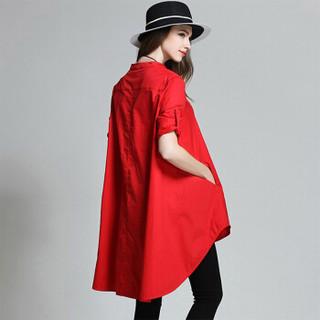 她池女装2019春装新款韩版宽松前短后长纯色长袖大码单排扣上衣圆领衬衫 T91Z0012A30XL 红色 XL