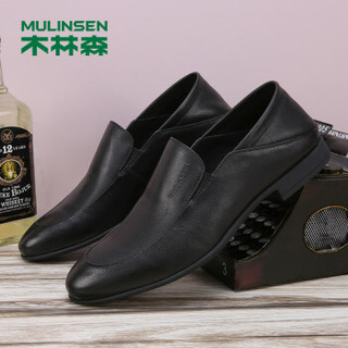 MULINSEN 木林森 韩版时尚简约头层软牛皮轻质套脚商务办公休闲皮鞋男 SS97123 黑色 39码