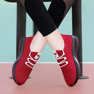 古奇天伦 女士韩版时尚百搭平底低帮运动跑步休闲鞋 9185 红色 39