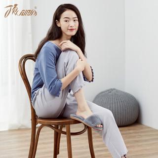顶瓜瓜睡衣女纯棉春季时尚韩版七分袖可外穿家居服套装t01120jd 蓝色女款一 170