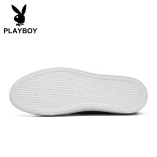 PLAYBOY 花花公子 英伦低帮休闲硫化帆布鞋男平底舒适 DS85193 高帮- 黑色 39