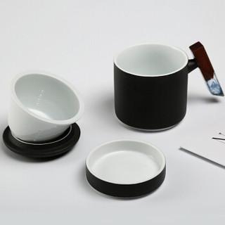 常生源 陶瓷个人杯 泡茶杯主人杯 办公室 过滤杯 带盖带杯托 木把 卓越手把杯