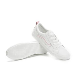 CAMEL 骆驼 小白鞋女韩版时尚系带学院风低帮滑板运动  W91226530 白/粉 38/240码