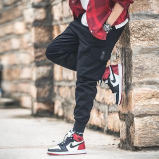 卡帝乐鳄鱼(CARTELO)休闲裤男2019年春季新款韩版潮流工装束脚宽松哈伦裤子 黑色 2XL
